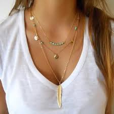 layer necklace images New layered necklace bohemia gold silver tassel blue beads feather jpg