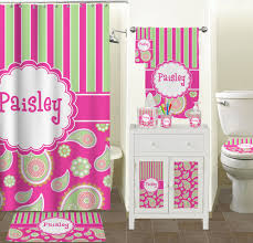 Paisley Shower Curtain Pink U0026 Green Paisley And Stripes Shower Curtain Personalized