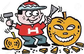 cartoon of boy carving halloween pumpkin royalty free cliparts