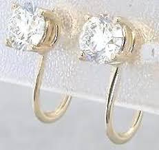 earrings for unpierced ears 1 0 ctw diamond stud earrings for non pierced ears in 14k yellow