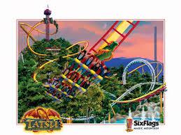 Six Flags Logo Six Flags Magic Mountain Tatsu Roller Coaster Construction Photos