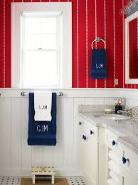 Cottage Bathroom Design Colors Decorating With Color Red White And Blue Red Wallpaper Over