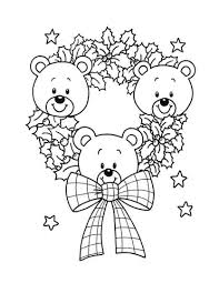 christmas wreath teddy bears coloring free printable