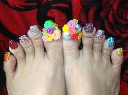 flower bling designs toes nail gallery
