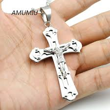 wholesale cross necklace images Amumiu fashion silver crucifix big jesus piece cross pendant jpg