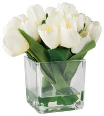artificial flower arrangements tulip floral arrangement with glass vase contemporary