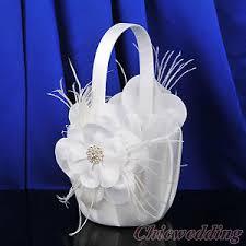 corbeille mariage blanc satin corbeille panier à fleurs pétales de mariage plume