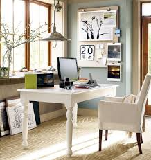 office scandinavian home office design with slim white table and