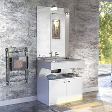 miroir avec applique meuble epure 70 cm avec plan vasque et miroir blanc brillant