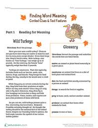 finding word meaning context clues u0026 text features worksheet