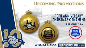 lehigh valley ironpigs 10th anniversary ornament 7 24