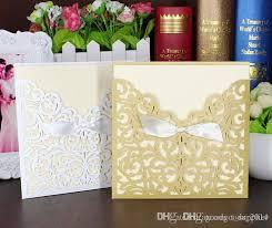 gold lace ribbon lace ribbon bow knot wedding invitation card vintage laser cut