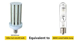 light bulb conversion to led led 100w equivalent to 400w metal halide return on investment calculate