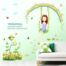 Wall Decor 1 Pc Rainbow Swing Vinyl Wall Stickers For Kids