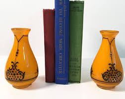 Vintage Orange Glass Vase Art Deco Glass Vase Etsy