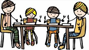clip family thanksgiving dinner table clipart black and white