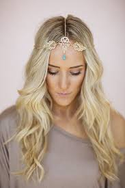 chain headband gold leaf headpiece chain headband turquoise boho bead bohemian