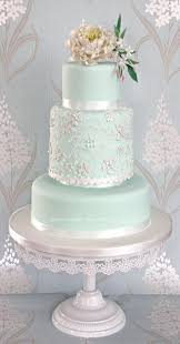mint peony and lace wedding cake design deer pearl flowers