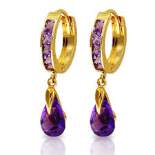 gold huggie earrings alarri 14k solid gold huggie earrings with dangling amethysts