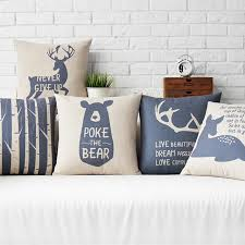 deer home decor vintage style nordic deer bears home decor pillow navy trees linen