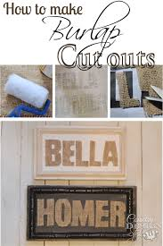 burlap cut out signs country design style