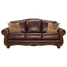 Ashley Leather Living Room Furniture Signature Design By Ashley Mellwood Traditional Leather Match Sofa