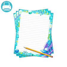 printable lined writing paper science fair writing template border paper school project printables