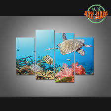 high quality paradise wall art buy cheap paradise wall art lots 4 pieces sets canvas art turtle island paradise coral reef hd canvas paintings decorations for