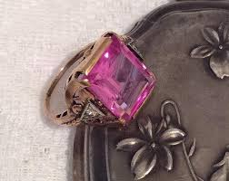 now sold pink sapphire ring diamond 14k gold art deco vintage