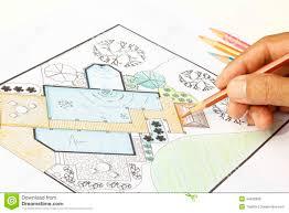 landscape architect design garden plans for backyard stock photo