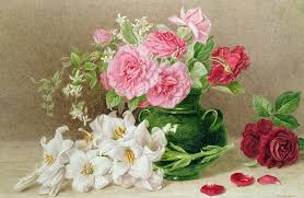 roses and lilies roses and lilies painting by elizabeth duffield