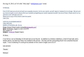 7 times excellent customer service was delivered over email