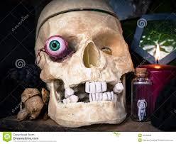 scary halloween skull with eyeball royalty free stock photos