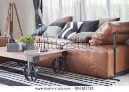 Light Colored Leather Sofa Wood Center Table Wheel Light Brown Stock Photo 594183515