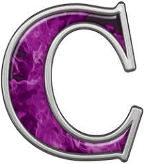 reflective letter c with inferno purple flames pattern possibles