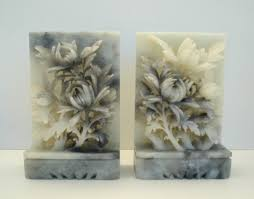 carving soapstone beautiful vintage carved soapstone floral bouquet bookends