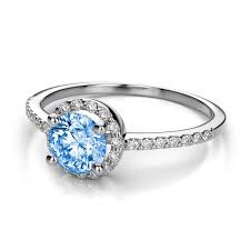 topaz engagement ring halo diamond and 5mm swiss blue topaz engagement ring in