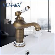 Kemaidi Ru Free Shipping Antique Bronze Bathroom Faucet Deck Mounted Antique Bronze Bathroom Fixtures