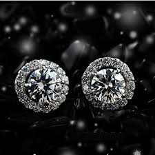 aliexpress buy new arrival hight quality white gold excellent 14k white gold earrings 1ct cut halo
