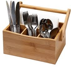 Bamboo Silverware Holder Kitchen Bamboo 4 Compartment Utensil Flatware Cutlery Caddy Holder