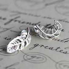 feather earrings s earrings silver earrings studs dramatic silver stud earrings