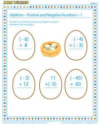 addition positive and negative numbers u2013 1 u2013 algebra worksheets