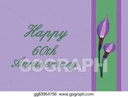 60th Wedding Anniversary Greetings Stock Illustration 60th Wedding Anniversary Card Clipart