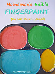 homemade edible finger paint using only water flour and food