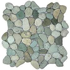 travertine mix giallo river rocks pebble mosaic tile tumbled