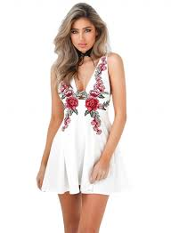 women u0027s v neck sleeveless backless floral embroidery mini dress