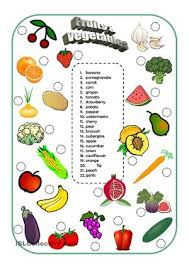 matching activity for the vocabulary of fruits and vegetables