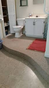 vinyl or tile for raised curved basement bathroom floor