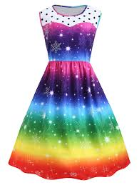 christmas cocktails vintage plus size christmas snowflake rainbow printed vintage dress in