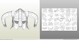 papercraft pdo file template for skyrim iron helmet
